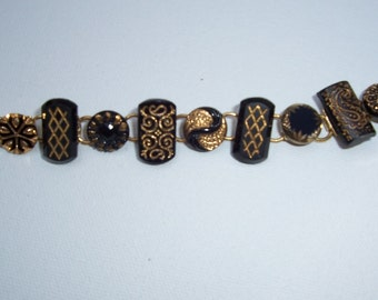 ANTIQUE BUTTON BRACELET Odd Shaped Glass Victorian Era