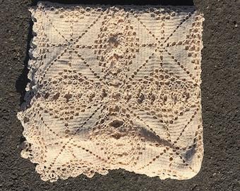 Antique crochet shawl