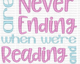 Reading Pillow Machine Embroidery Design- Happy Times