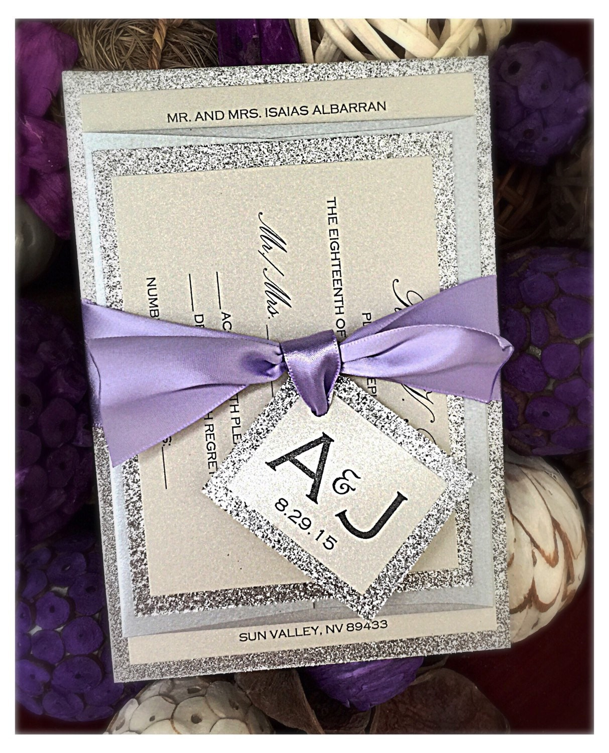 Wedding Invitation lilac wedding invitation Lilac Purple and