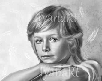 Custom Portrait Custom Child Portrait Digital Portrait Custom Painting Digital Painting from your photo Kid's portrait Black white painting