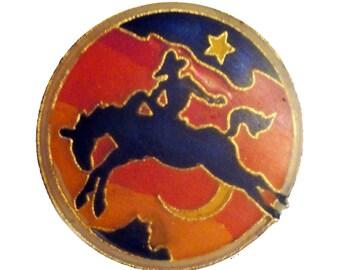MIDNIGHT COWBoY vintage enamel pin Stardust Cowboy