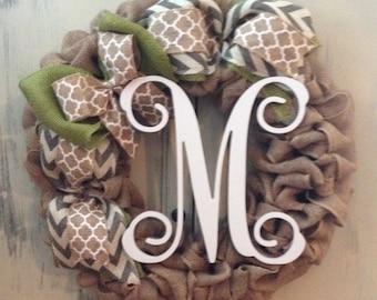 Burlap Monogram Wreath, Initial Wreath, Fall Wreath, Spring Wreath, Front Door Wreath, Personalized Gift