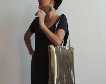Metallic Gold Tote Bag - Tote Bag - Convenient Bag - Magazines Bag - Books Bag - Laptop Bag - Hand Bag - Shoulder Bag - New York Tote Bag