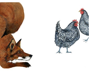 Red Fox and two Chickens 8x11 Giclee print