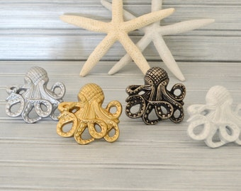 One Octopus Drawer Knob. Octopus Knob. Octopus Handle. Cabinet Knob. Dresser Knob. Beach Decor. Nautical Decor. Coastal Decor.