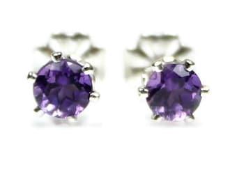 Amethyst Stud Earrings Silver Amethyst Post Earrings Amethyst Jewelry 925 4MM Amethyst Earrings Purple Gemstones February Birthstone