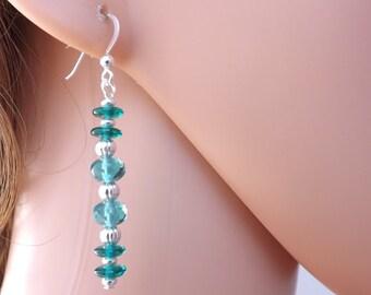 Emerald earrings, teal earrings, glass earrings, Czech glass earrings, drop earrings, dangle earrings