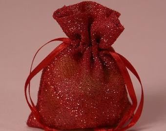 Red Sparkle Favor Bag 5x6