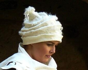 Felted Hat Felt Cap wool hat for women white boho hat
