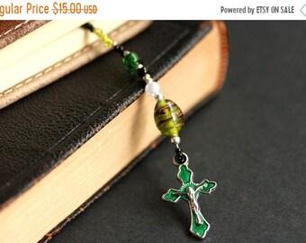 SUMMER SALE Beaded Bookmark. Emerald Green Book Thong. Christian Book Marker. Christian Cross Bookmark. Olive Green Bookmark. Handmade Bookm