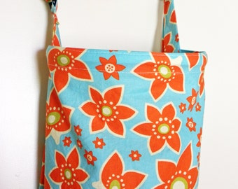 Nursing Cover Up - Aqua Orange Flower Blossom - Perfect for the Modest Nursing Mom