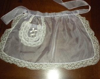 vintage half apron lavender organdy white lace trim hostess apron party apron 60s 50s apron