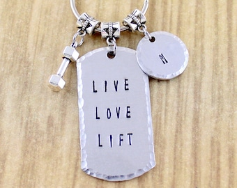 Personalized Live Love Lift Keychain | Dumbbell Keychain | Personal Trainer Gift | Weight Lighting Gift | SRA 5 Star Seller Shop 92472 - ZAW