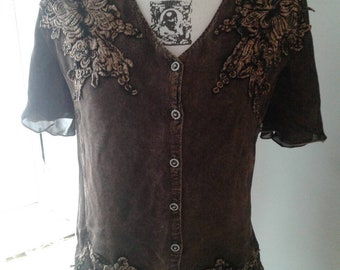 Brown top with lacy appliques....silvertone buttons.....sheer sleeves and upper back....like-new  condition