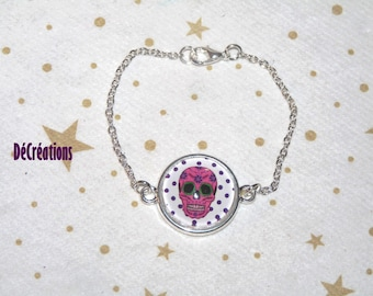 Dainty thin silver cabochon bracelet white/pink calavera designs