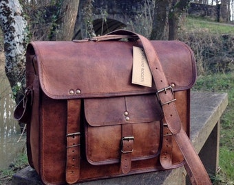 "15"" Hand Made Leather Satchel Tan Briefcase Laptop Portfolio Messenger Bag Real Leather Portfolio Attache"