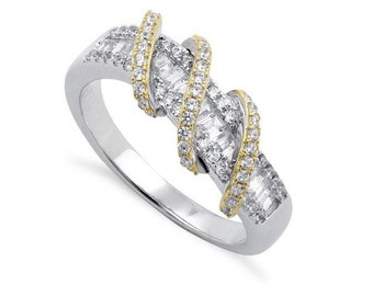 Sterling Silver Two-Tone Gold Plated Knot Twist Intertwined Clear CZ Engagement Wedding Anniversary Band Ring