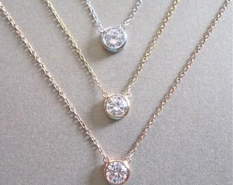 Diamond necklace etsy solitaire diamond necklace diamond necklace floating diamond mothers day gift aloadofball Choice Image