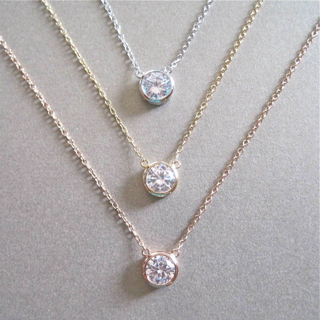 wedding diamond solitaire necklace weekend certified string solid ct p gold natural