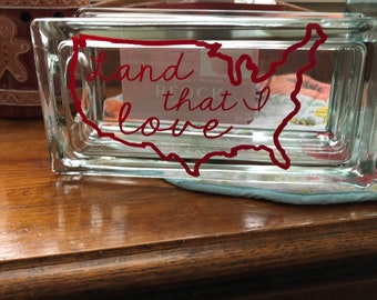 4th of July Glass Block