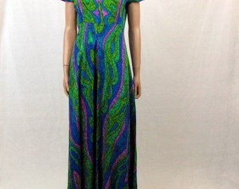 Vintage 70s Mod Hawaiian Style Dress / Greens and Blue Mod Textured Fabric / Custom Made / Palazzo Pant Legs / Medium / Empire Waist