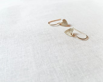 Hammered Heart Earrings - 14k Yellow Gold Fill Faceted Heart Charm Petite Drop Earrings Handmade Artisan Gift for Her Fall Trend
