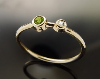 Tiny Peridot and diamond ring, Minimalist Engagement Ring, Thin stacking Band, 14k gold Classic round gemstone ring, August Birthstone,Sale