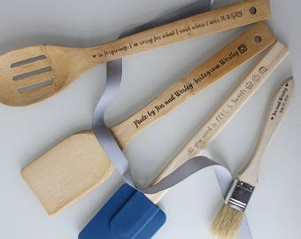 Funny HANGRY INSTAGRAM Custom Bakers Gift. Custom Christmas Kitchen Utensils. Personalized engraved wood utensil spoon and silicone spatula.