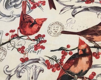 Cardinals & Berries (4) Cloth Dinner Napkins