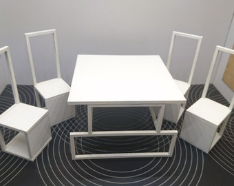Modern original furniture, minimalist white dining table with 4 chairs 1/12 miniature for dollhouses