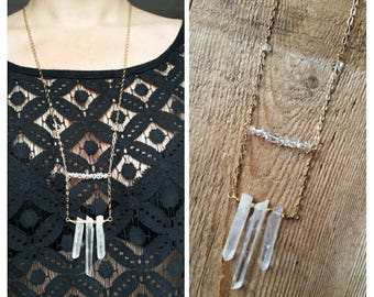Three crystal long brass necklace with herkimer diamond bar