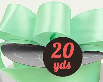 "Satin Mint Green Ribbon - 7/8"" wide at 20 yards"