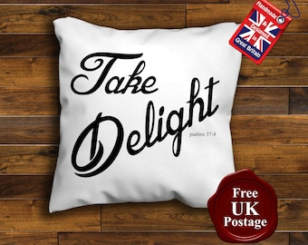 Take Delight Cushion Cover, Christian bible verse Cushion, Take Delight Cushion, Wedding Gift