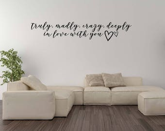 Vinyl Wall Word Decal - Truly, Madly, Crazy, Deeply In Love With You - Inspired By One Direction Lyrics - Wall Words - Home Decor - Decal