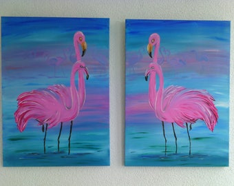 interior painting Flamingo at sunrise