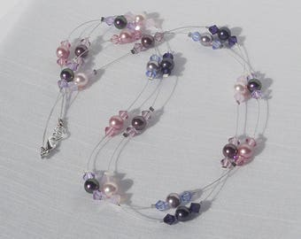 Swarovski floating pearl and crystal 2-strand necklace
