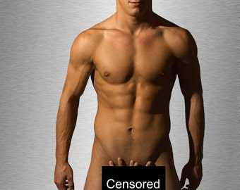 Modest Gay Art Male Art Nude Photo Print by Michael Taggart Photography tan muscle muscles muscular strong abs handsome hands touch