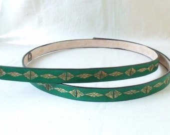 Leather belt 2 cm green, tooled 3