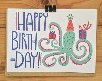 Happy Birthday Octopus Card