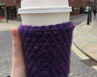 Purple crochet cup cozy; Planner accessory; cup cosy; mug hug; reusable cup cozy; coffee lover gift; tea lover gift; eco friendly