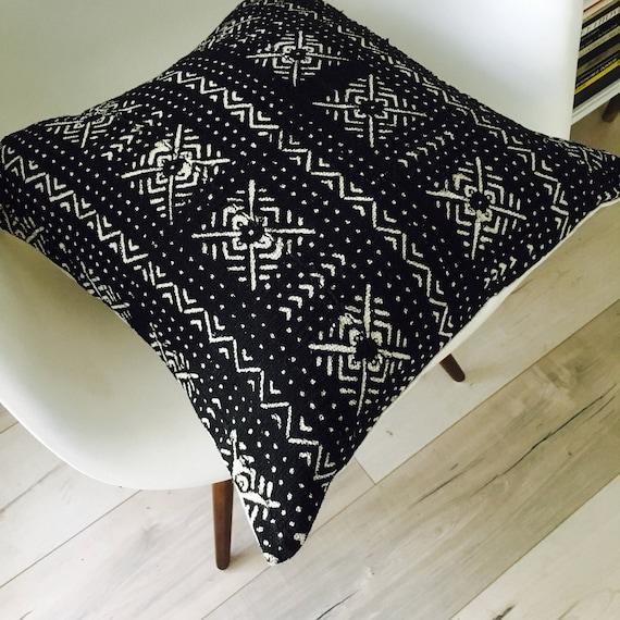 "Boho Black Tribal Pillow Cover 18""x18"" Square Cushion Pillow Ethnic Bohemian African Geometric Motif Black White MudCloth Boho Pillow"