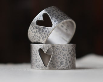 READY to SHIP ~ size 7 or 8, sterling silver hammered heart band ring, You & Me, PS: I love you