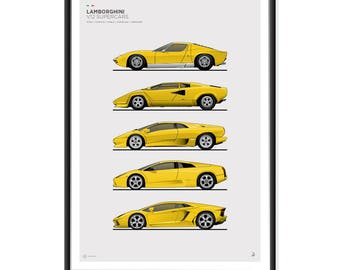 Lamborghini V12 Supercars Poster