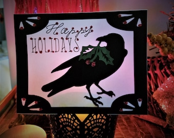 Glittered Raven and Holly Berry Holiday Greeting Card