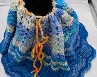 Aqua Blue Poncho Capelet