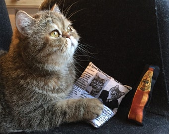 Catnip toy for cats - Newspaper pillow