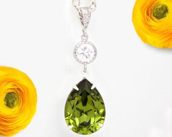Olive Green Necklace Swarovski Crystal Olivine Green Bridesmaid Necklace Olive Necklace Bridal Necklace Wedding Pendant Necklace OG31N