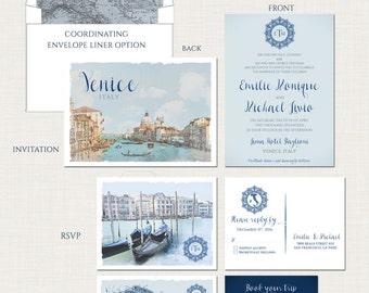 Venice Italy  illustrated Destination wedding invitation  dusty blues greys silver European wedding -Deposit Payment
