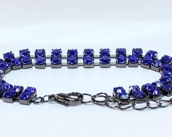 1pcs--Bracelet with Sapphire Stones, Rhinestones (B51-13)